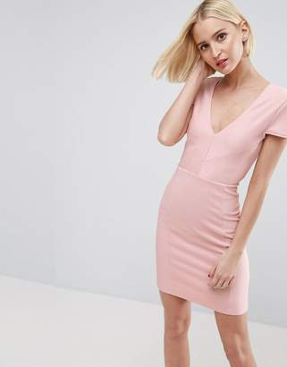 Asos Seamed Structured Rib Mini Bodycon Dress With V Neck