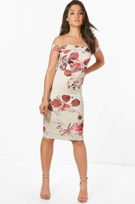 boohoo Tanzy Leaf Print Off the Shoulder Midi Dress