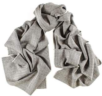 Black City Herringbone Silk and Merino Wool Scarf