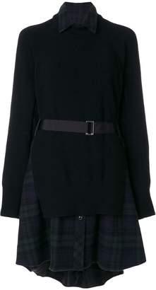 Sacai fusion sweater shirt dress