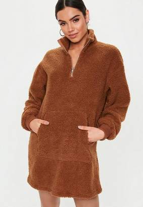 Missguided Brown High Zip Neck Borg Sweater Dress, Brown