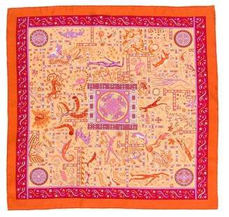Hermes Forces de la Vie Silk Pocket Square