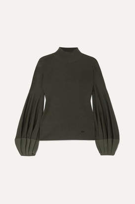 Akris Pleated Silk-trimmed Wool-blend Sweater - Green
