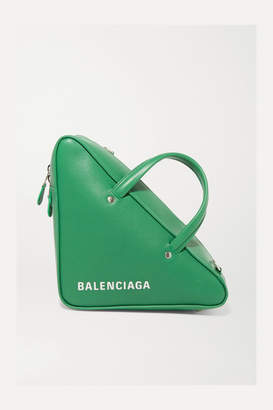 Balenciaga Triangle Duffle Printed Textured-leather Tote - Green