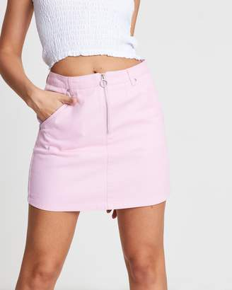 Sass Vacation Zip Up Denim Skirt