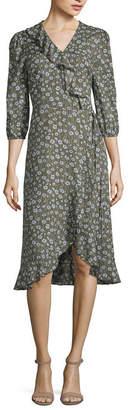 A.N.A 3/4 Sleeve Ruffle Wrap Midi Dress
