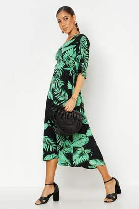 boohoo Woven Wrap Tie Belt Maxi Dress