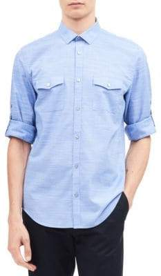Calvin Klein Space Dye Roll-Up Cotton Sport Shirt