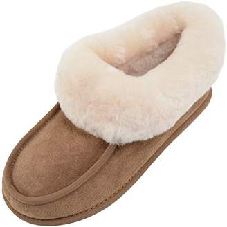 SNUGRUGS Fern, Women's Sheepskin Slipper Boot with Rubber Sole, Chestnut Brown, (42 EU)