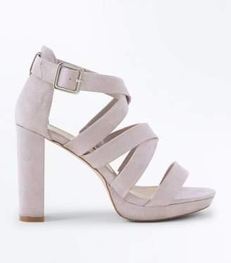 New Look Wide Fit Grey Suedette Strappy Platform Sandals