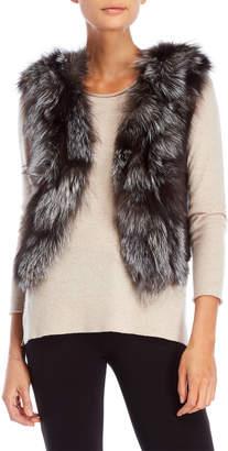 Adrienne Landau Real Fox Fur & Leather Vest