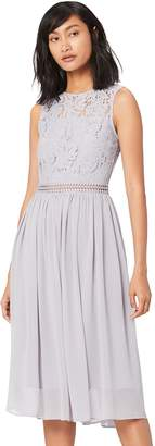 Truth & Fable TRUTH & FABLE Women's Lace Trim Bridesmaid Midi Grey M (US 8)