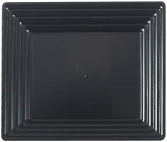 "clear Kaya Collection - Black Plastic Serving Tray Heavyweight Square Platter 12""X12"" Disposable or Reusable (3 Trays)"