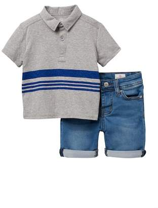 AG Jeans Washed Jersey Polo Shirt with Knit Shorts (Baby Boys)