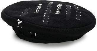 MHI text embroidered beret hat
