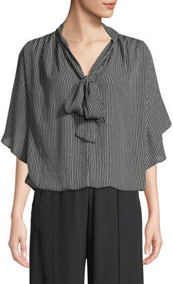 Max Studio Tie-Neck Dot-Striped Cape-Sleeve Blouse