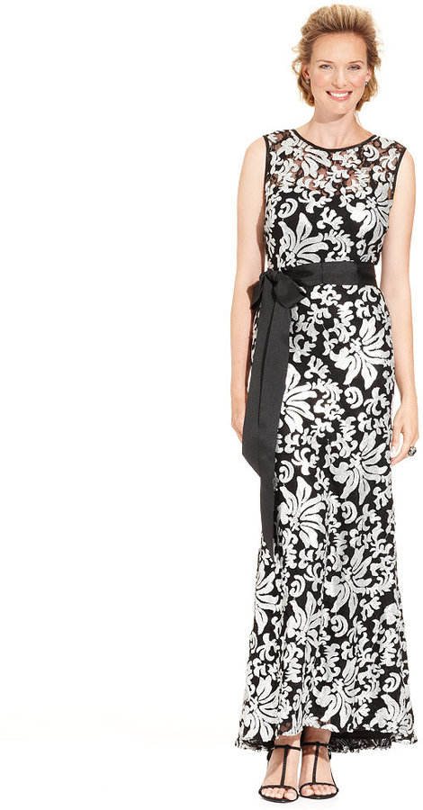 Betsy & Adam Dress, Sleeveless Sequin Embroidered Belted Gown