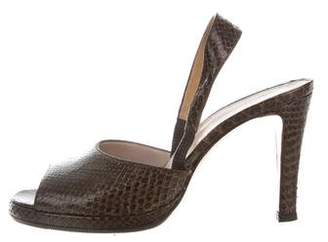 Chanel Snakeskin Slingback Sandals