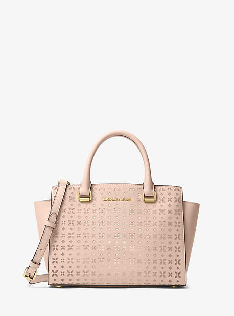 Michael Kors Selma Medium Perforated Leather Messenger
