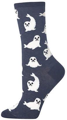 Hot Sox Women's Novelty Harp Seal Crew Socks