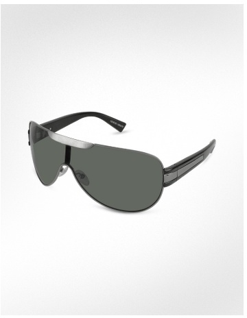 Giorgio Armani Signature Metal Strip Aviator Shield Sunglasses