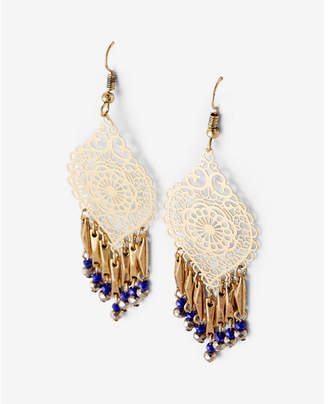 Express Beaded Fringe Filigree Drop Earrings $22.90 thestylecure.com