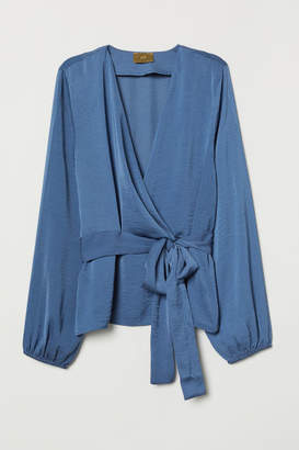 H&M Wrap-front Tie-belt Blouse - Blue