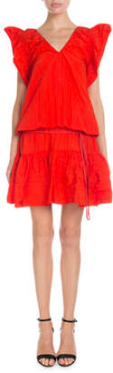 Victoria Beckham Victoria V-Neck Flutter-Sleeve Ruffled Short Dress
