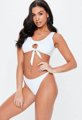 Missguided White Tie Front Bralet Thong Bikini Set