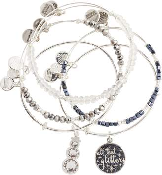 Alex and Ani Silvertone All That Glitters Set of 5 Bangles