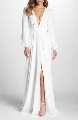 Joanna August Floyd V-Neck Long Sleeve Gown