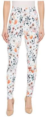 Hue Sketched Flower Curvy Denim Leggings Women's Casual Pants