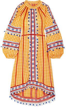 Dodo Bar Or Tasseled Gingham Cotton-jacquard Dress - Mustard