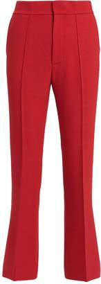 Helmut Lang Red Spongy Wool Crop Flare Trousers