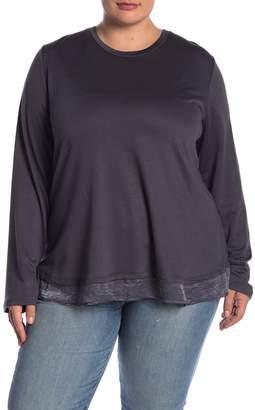 Bobeau Satin Bow Long Sleeve Pullover (Plus Size)