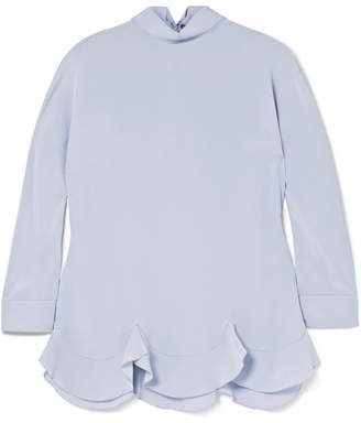 Prada Ruffled Scalloped Silk Crepe De Chine Top - Lilac