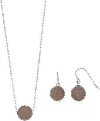 Sterling Silver Agate Bead Necklace & Earring Set