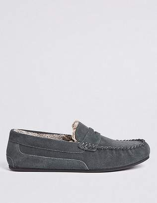 "Marks and Spencer Suede Slip-on Slippers with Freshfeetâ""¢"