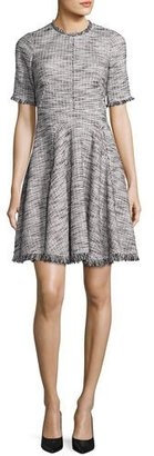 Rebecca Taylor Short-Sleeve Fringe-Trim Boucle Tweed Fit & Flare Dress, Black/Chalk $495 thestylecure.com