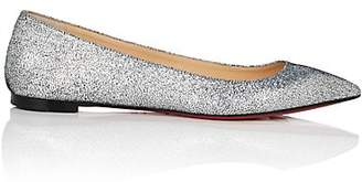 Christian Louboutin Women's Ballalla Glitter Leather Flats - Silver