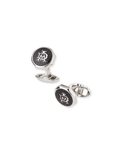 Alfred Dunhilldunhill Octagonal AD Cuff Links, Silver/Black