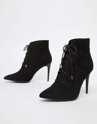 New Look Suedette Lace Up Heeled Boot