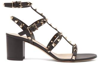 Valentino Rockstud Block Heel Leather Sandals - Womens - Black