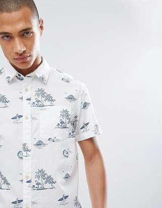 Jack and Jones Originals Short Sleeve Shirt With Beach Print