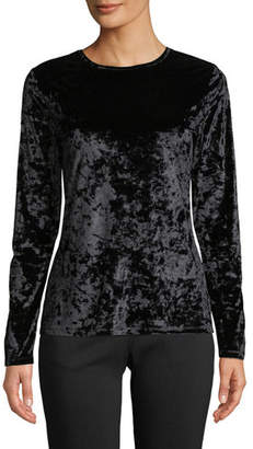 MICHAEL Michael Kors Crewneck Long-Sleeve Crushed Velvet Top