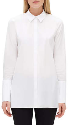 Lafayette 148 New York Porto Button-Front Blouse with Chain-Trim Collar