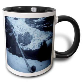 3dRose Vintage Swiss Man Blowing a Giant Alpine Horn Selenium 2 - Two Tone Black Mug, 11-ounce