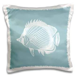 3dRose Blue Butterflyfish Tropical Fish print Exotic modern sea ocean marine - Pillow Case, 16 by 16-inch