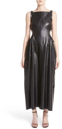 Ellery Ruched Side Cutout Leather Dress