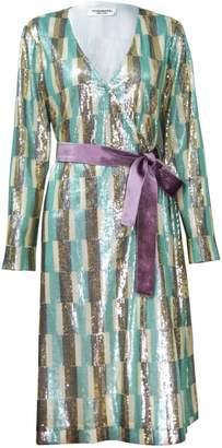 Vivienne Hu Sequin Wrap-Around Dress With Tie Belt
